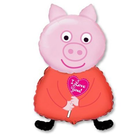 Шар фигура Поросенок с сердечком ILY