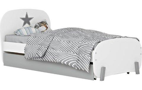 Кровать детская Polini kids Mirum 1915 c ящиком, белый / серый
