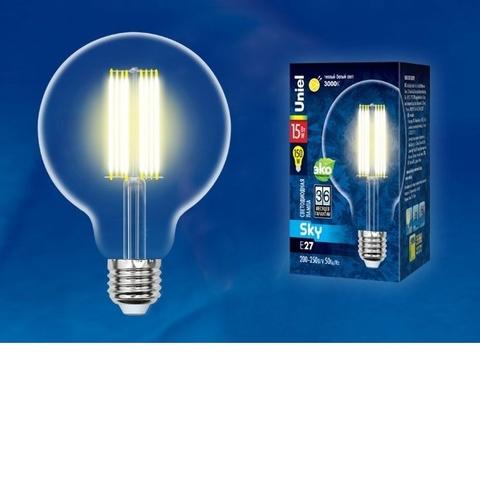 Лампа светодиодная UNIEL LED-G95-15W/3000K/E27/CL PLS02WH