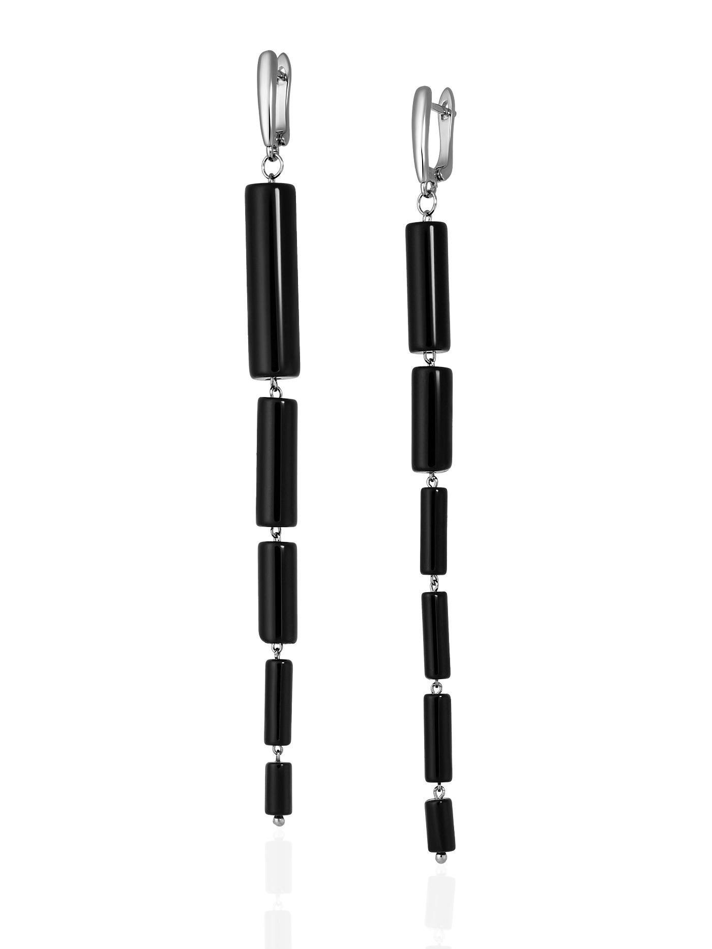 Асимметричные длинные серьги с черным агатом