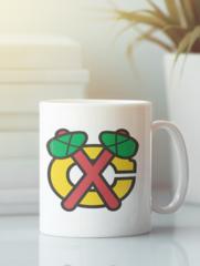 Кружка с рисунком НХЛ Чикаго Блэкхокс (NHL Chicago Blackhawks) белая 0010