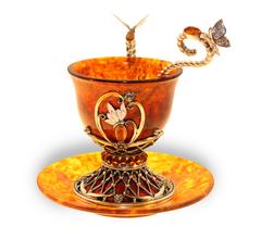 """Чашка для кофе с блюдцем и ложечкой, янтарь, серия """"Императорская"""", Екатерина"""