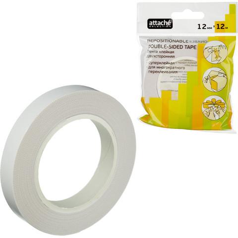 Скотч клейкая лента канцелярская Attache Selection пластиковая двусторонняя переклеиваемая прозрачная 12 мм x 12 м