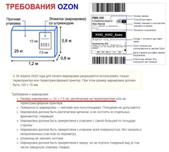 Набор 5 рулонов Термоэтикетка для OZON 75x120 мм ЭКО (1 рулон = 300 шт) втулка 40 мм