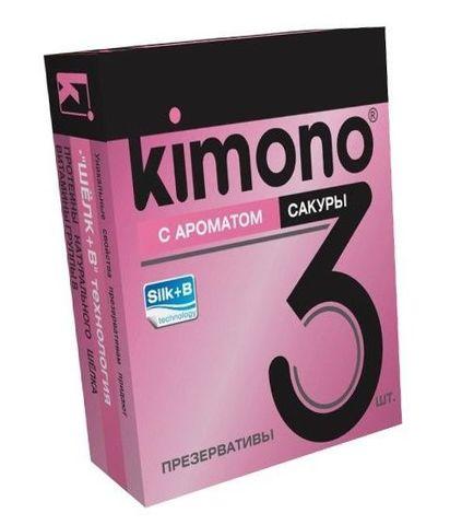 Презервативы KIMONO с ароматом сакуры - 3 шт.