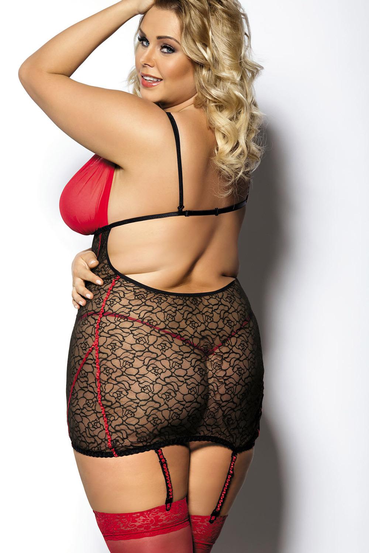 Сорочка эротическая ажурная черно-красная