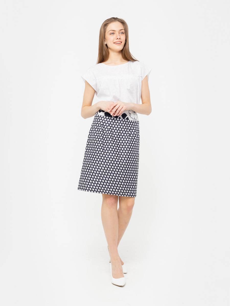 Юбка Б793-390 - Хлопковая юбка модной длины ниже колена. Пояс на небольшой кокетке. Легкая, комфортная - незаменимая модель на лето