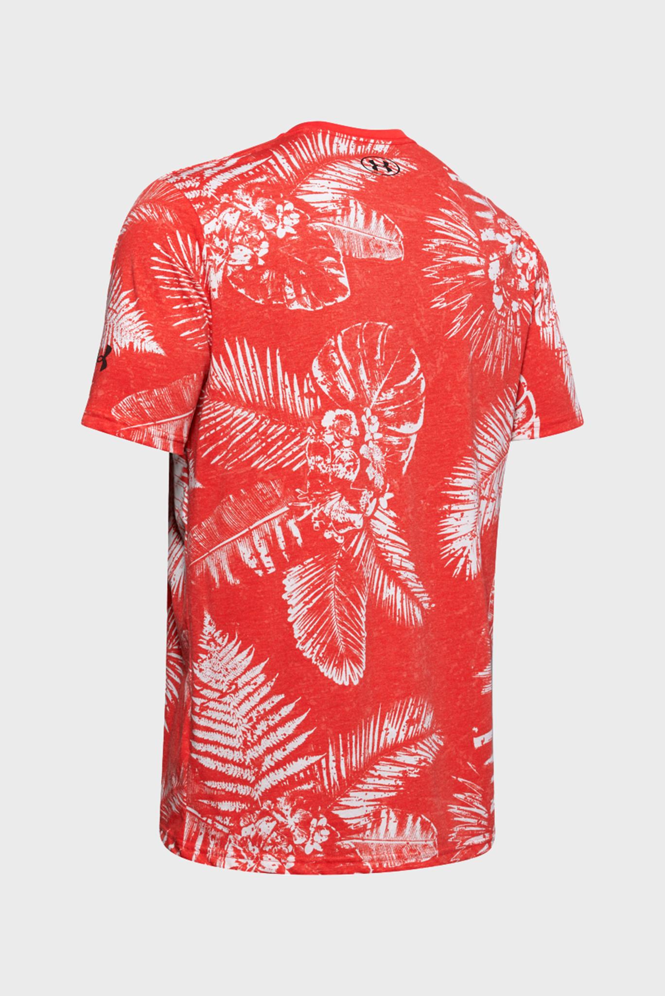 Мужская красная спортивная футболка с принтом Project Rock Aloha Camo SS Under Armour