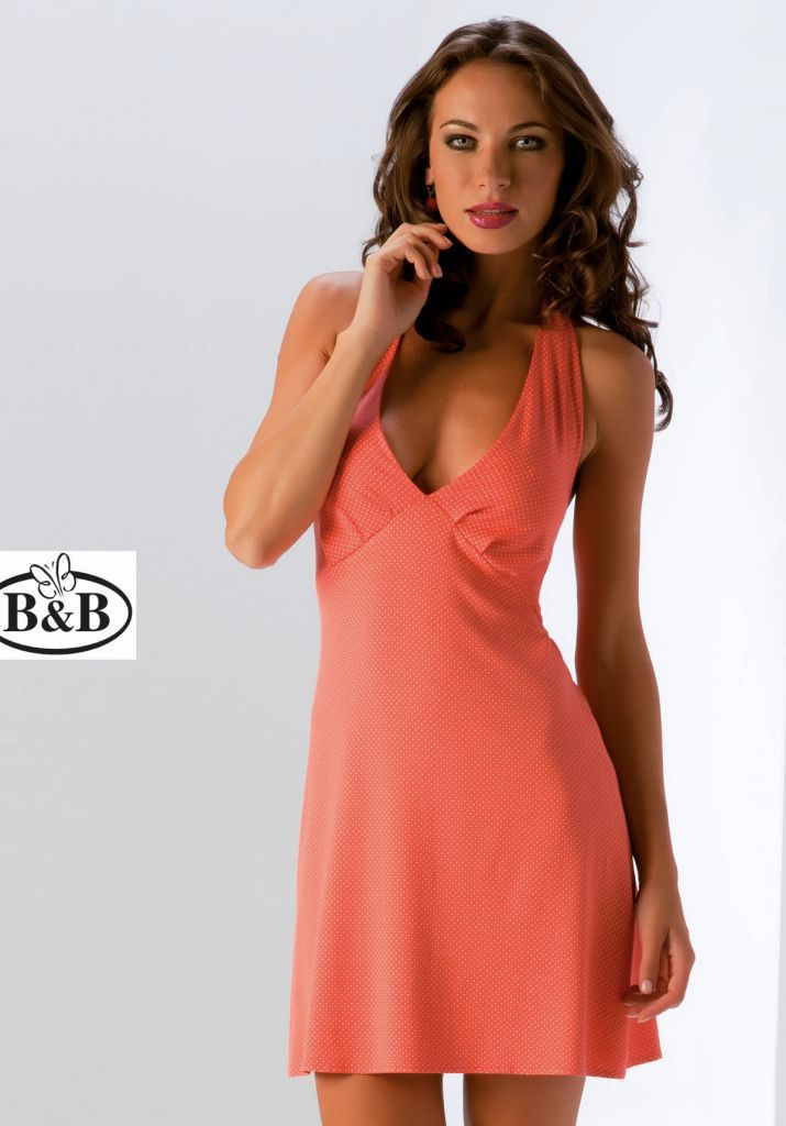 Коралловое пляжное платье B&B