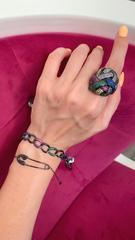 30520- Браслет Chaine из серебра в чёрном родаже с цветными микроцирконами
