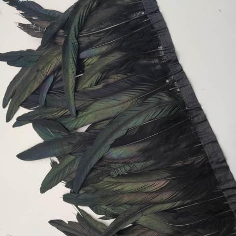 Тесьма  из перьев петуха h 25-30 см, черный