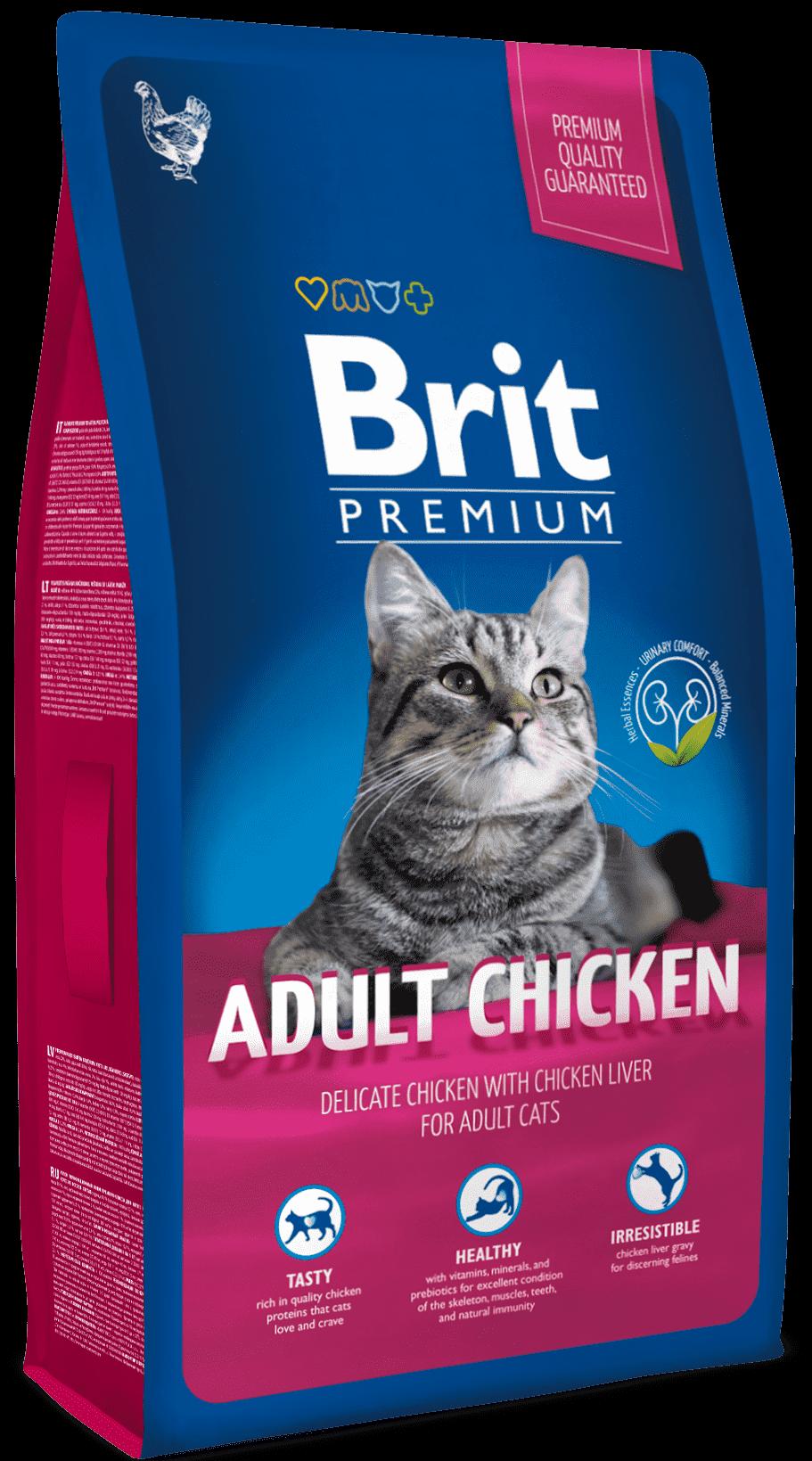 Brit Корм для взрослых кошек, Brit Premium Cat Adult Chicken, с мясом курицы и куриной печенью адлт_кур.png