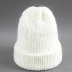 Двухслойная шерстяная женская шапка из кроличьего пуха (белая)
