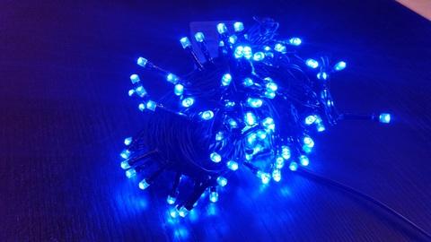 Гирлянда светодиодная домашняя нить 9,5м 120LED синий