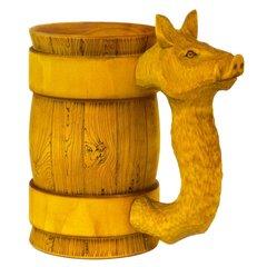 Кружка пивная деревянная WOOD&GOOD Hog с резной ручкой, 500 мл