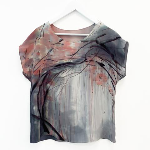 Шелковая блузка батик Розовый лес
