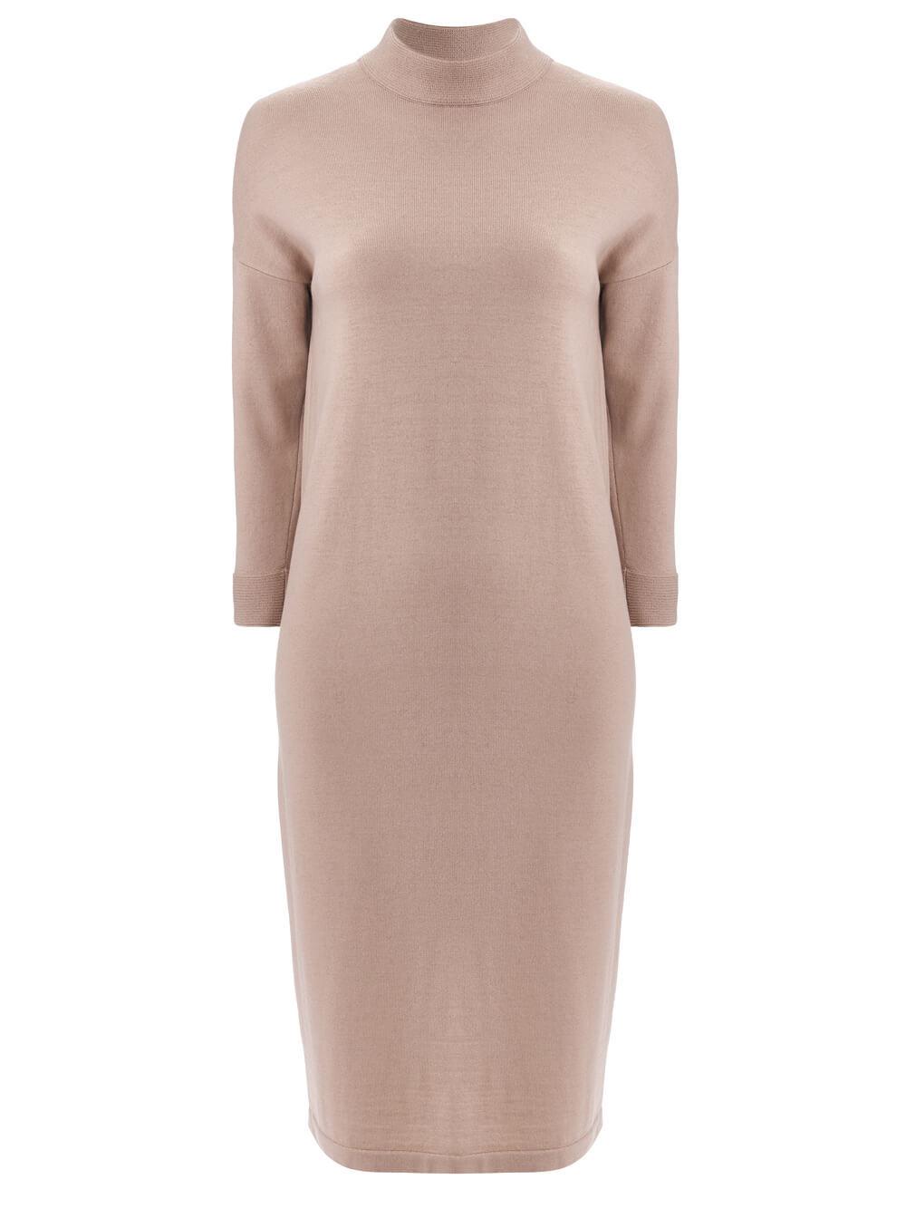 Женское платье цвета нюд из 100% шерсти - фото 1