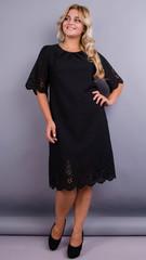 Ажур. Святкова сукня великих розмірів. Чорний.