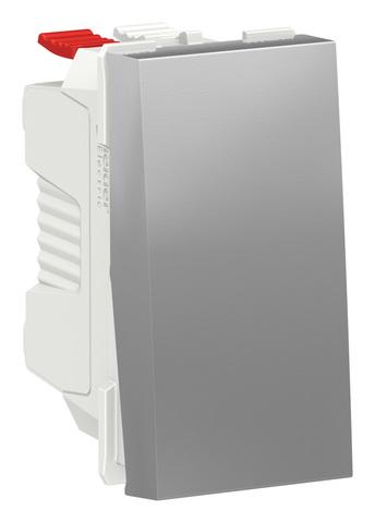 Выключатель кнопочный одноклавишный. 1 модуль. Цвет Алюминий. Schneider Electric. Unica Modular. NU310630