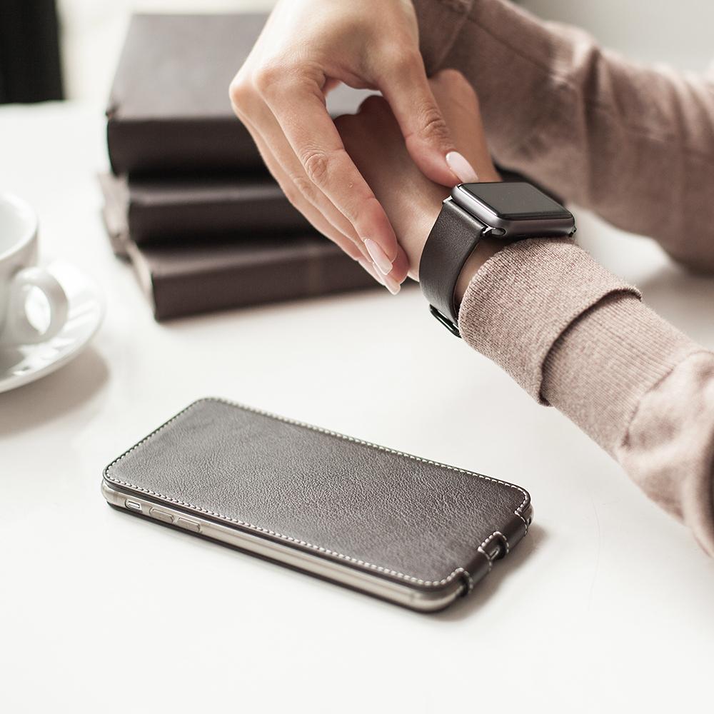 Чехол для iPhone 7 Plus из натуральной кожи теленка, темно-коричневого цвета