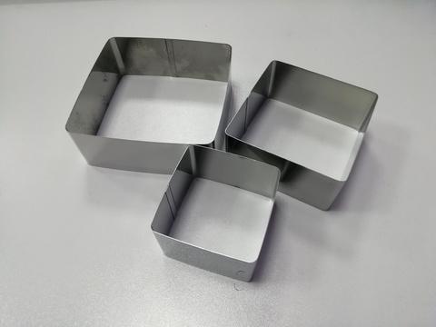 Набор квадратов для вырубки, выкладки, выпечки, 3 шт (6,8,10см H4 см)