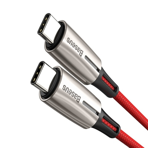 Кабель Baseus Water Drop-shaped Lamp Type-C PD2.0 60W Flash Charge Data Cable 20V 3A 1m Red