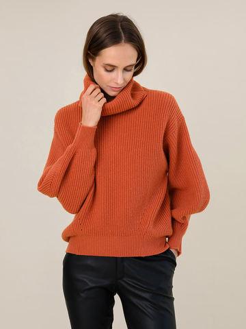 Женский свитер терракотового цвета из шерсти и кашемира - фото 2