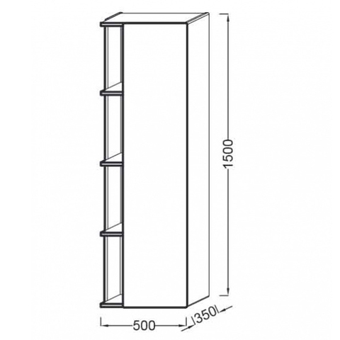 Подвесная колонна Jacob Delafon Terrace 150x50 EB1179D-G1C правый схема