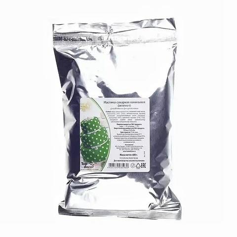 Мастика сахарная ванильная Топ-декор Зеленая, 600г.