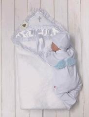 Комплект на крещение: Крыжма Бантик + велюровый человечек (голубой)