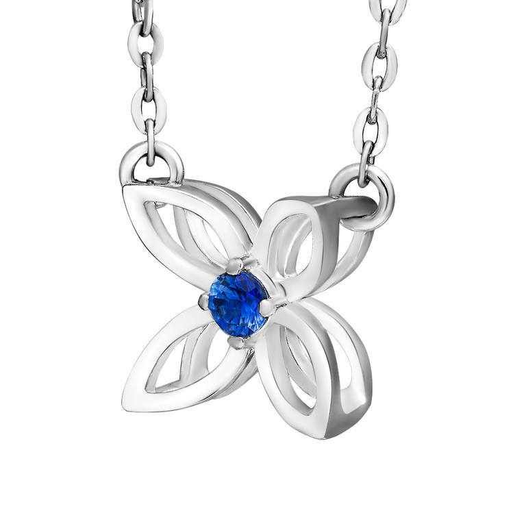 Silver Necklace with flower and artful sapphire