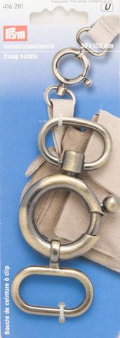 Застегивающийся карабин-пряжка, металл, цвет состаренной латуни, 11 см, код 416281