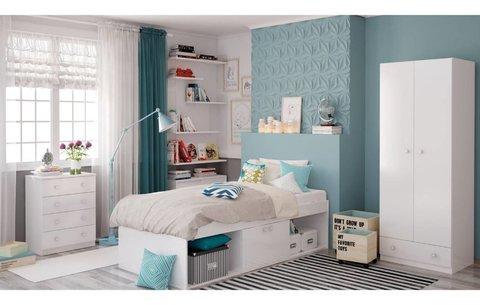 Кровать детская Polini kids Simple 3000 с нишами, белый