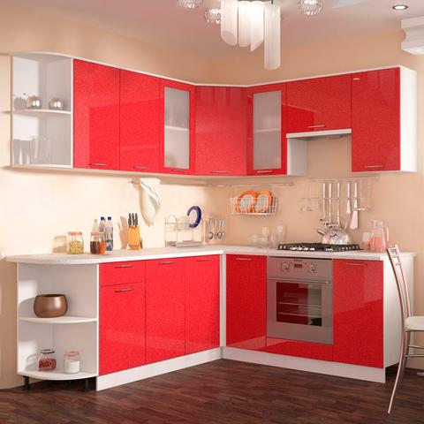 Кухня Техно красная угловая
