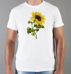 Футболка с принтом Цветы (Подсолнухи) белая 005