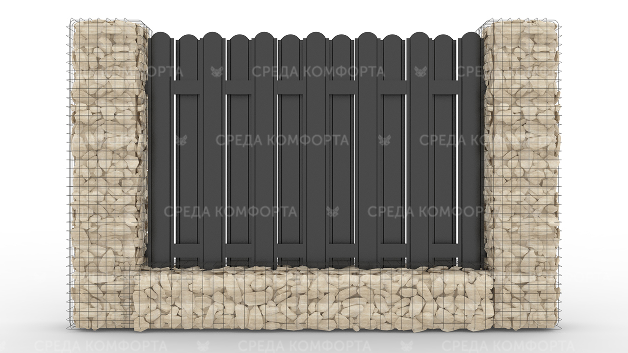 Забор из евроштакетника ZBR0045
