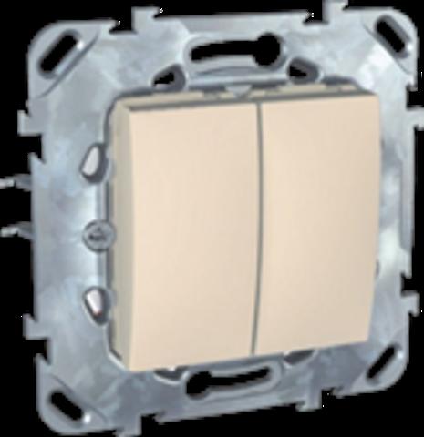 Выключатель двухклавишный проходной - Переключатель двухклавишный. Цвет Бежевый. Schneider electric Unica. MGU5.213.25ZD