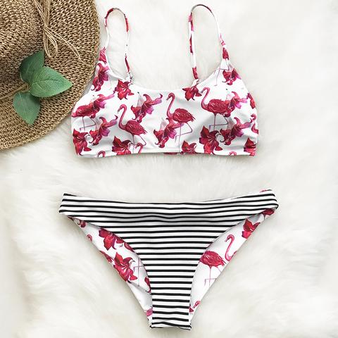 купальник раздельный белый розовый фламинго принт 3