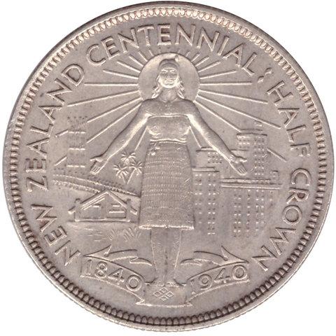 1/2 кроны 1940 год. Новая Зеландия (Георг VI). 100 лет договору Вайтанги AU. Серебро