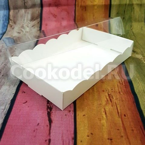 Коробка Белая Ажурная 20х10х2,5 с фиксацией дна