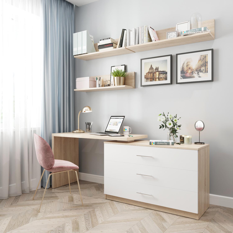 Поворотный стол-комод ДОМУС СТР07 дуб сонома/ белый
