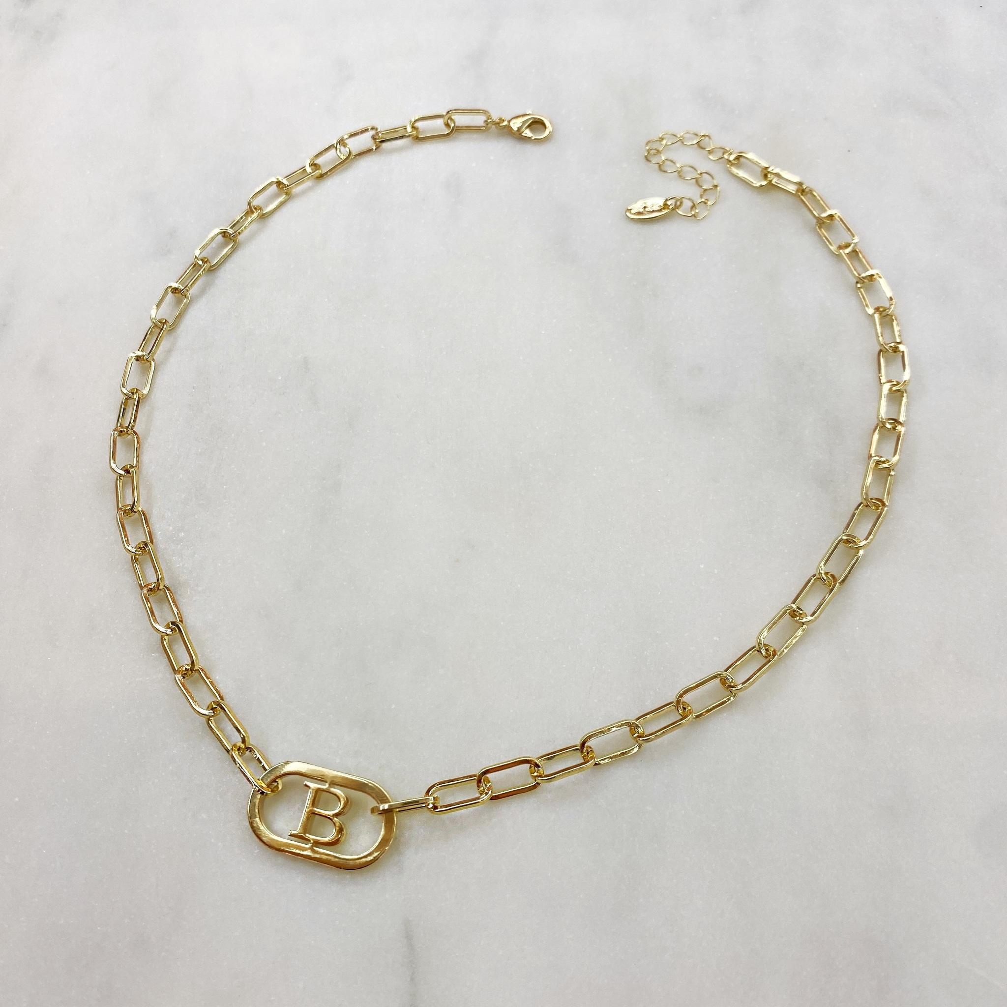 Колье-цепь с буквой B 40 см (золотистый)