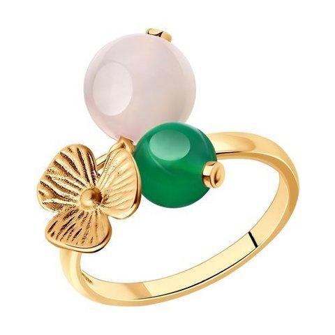 83010096 - Кольцо из золочёного серебра с полудрагоценными вставками