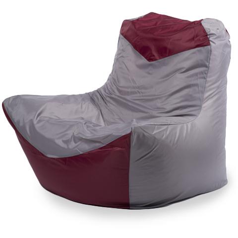 Пуффбери Внешний чехол Кресло-мешок классическое  100x100x110, Оксфорд Серый и бордовый
