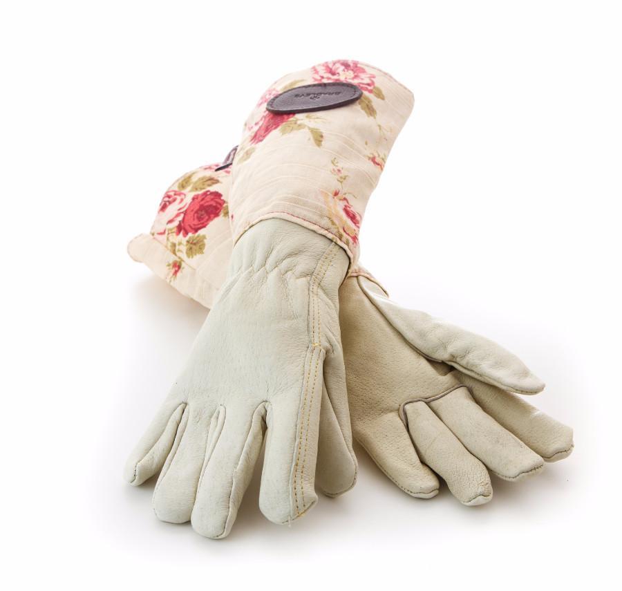 Перчатки садовые из кожи и льна, английский цветочный принт Bradleys
