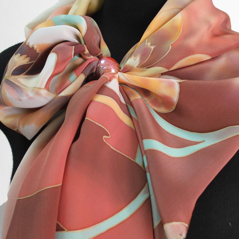 Шелковый шарф Орхидеи колорит Браун