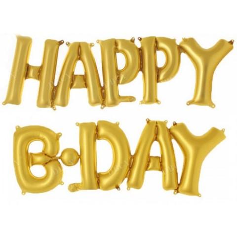 Растяжка из шаров: Буквы из фольги - С днем Рождения, Happy B-Day, золото