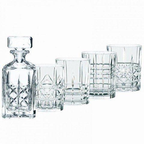 HIGHLAND - Набор 5 предметов для виски: декантер + 4 стакана хрустальное стекло