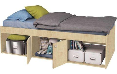 Кровать детская Polini kids Simple 3000 с нишами, натуральный