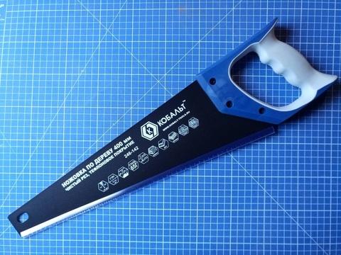 Ножовка по дереву КОБАЛЬТ 400 мм, шаг 3,5 мм/ 7 TPI, тефлоновое покрытие закаленный зуб, 3D-заточка, двухкомпонентная рукоятка, чистый рез